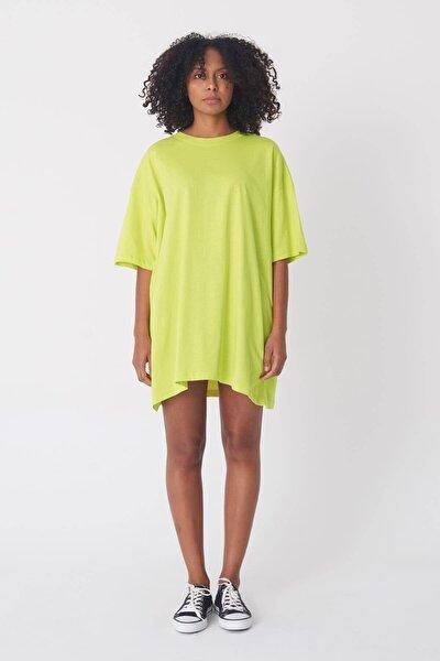Kadın Fıstık Yeşil Oversize Tişört P0731 - X5 ADX-0000020596