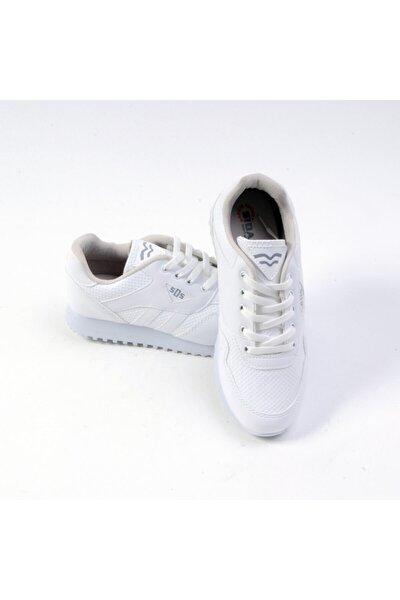 Unisex Bağlı Beyaz Cilt Spor Ayakkabı 361-g