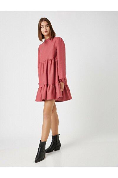 Kadın Pembe Pamuk Dik Yaka Uzun Kollu Kısa Elbise