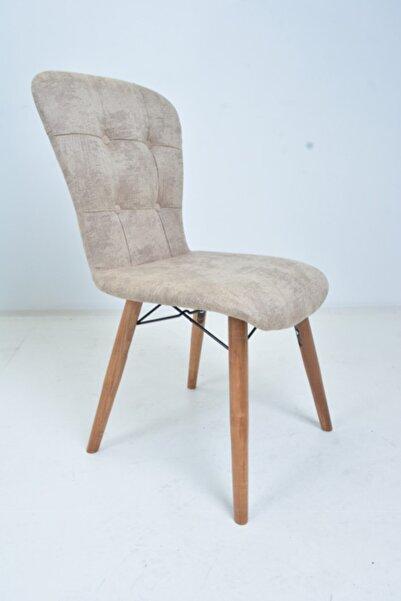 Ahşap Ayaklı Mutfak Sandalyesi Papel Sırtlı Bej