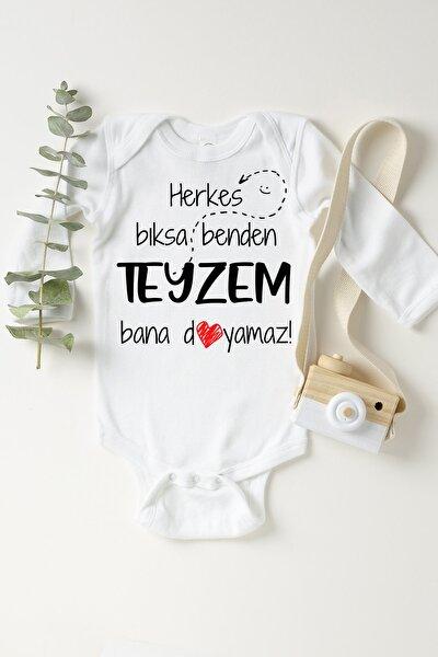 Unisex Bebek Beyaz Teyzem Bana Doyamaz Çıtçıtlı Body