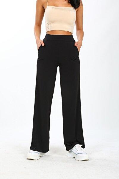 Kadın Siyah Sandy Kumaş Beli Lastikli Bol Paça Tiril Pantolon