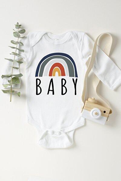 Unisex Bebek Beyaz Gökkuşağı Boho Çıtçıtlı Body