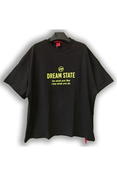 Kadın Siyah Super Oversize Dream State Baskılı T-shirt