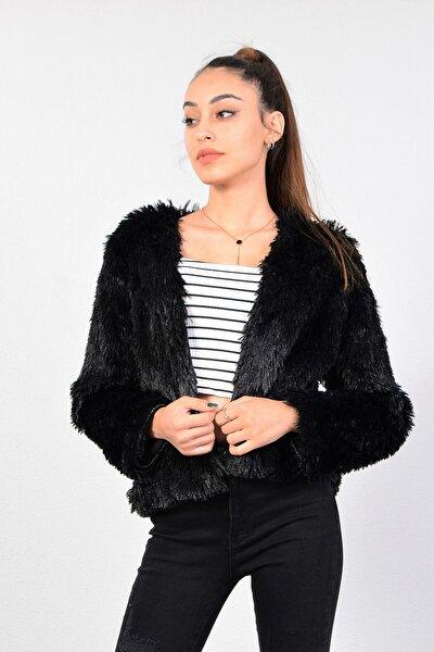 Kadın Siyah Kısa Peluş Ceket