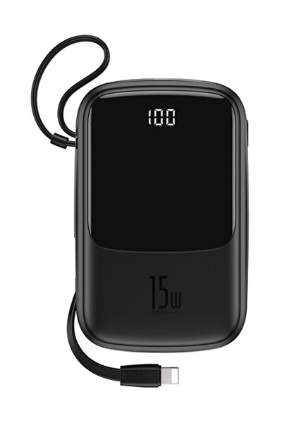 Q Pow 3a Dijital Gösterge 10000mah Power Bank +iphone Şarj Başlık Siyah
