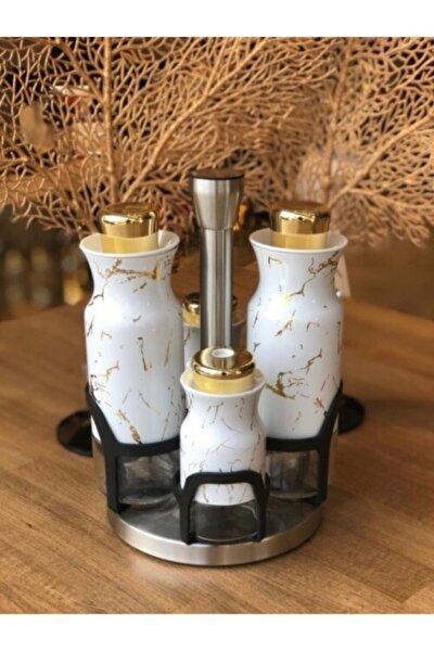 Beyaz Marmo Mermer Desen Yağlık Sirkelik Set