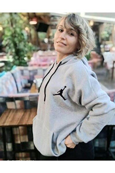 Kadın Gri Jumpman Basklı Sweatshirt
