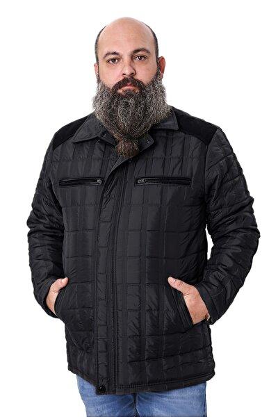 Erkek Siyah Büyük Beden Süet İşlemeli İçi Polarlı Mont