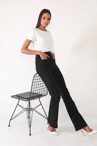 Kadın Siyah Yüksek Bel Paça Detaylı Flare Fit Jean