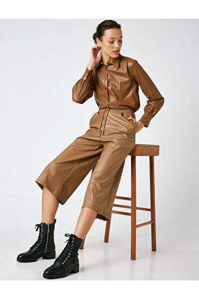 Kadın Kahverengi Deri Görünümlü Crop Pantolon