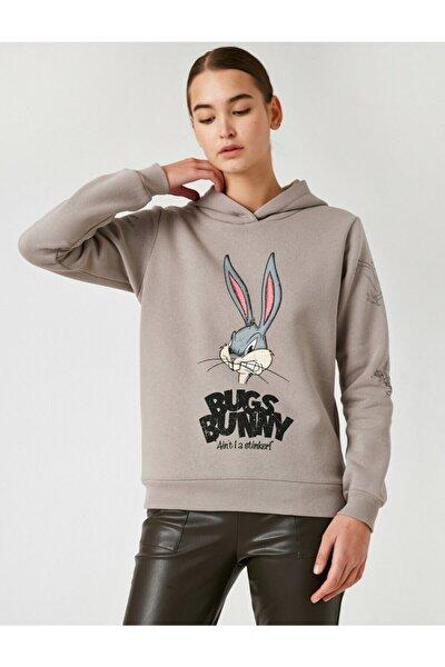 Kadın Gri Warner Bros Lisanslı Bugs Bunny Baskılı Kapüşonlu Sweatshirt