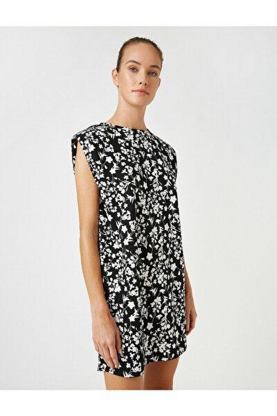 Kadın Siyah Vatkali Çiçekli Kolsuz Kisa Elbise