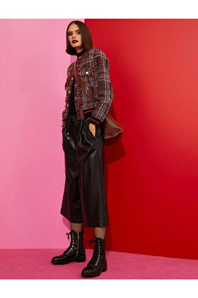 Kadın Siyah Deri Görünümlü Crop Pantolon