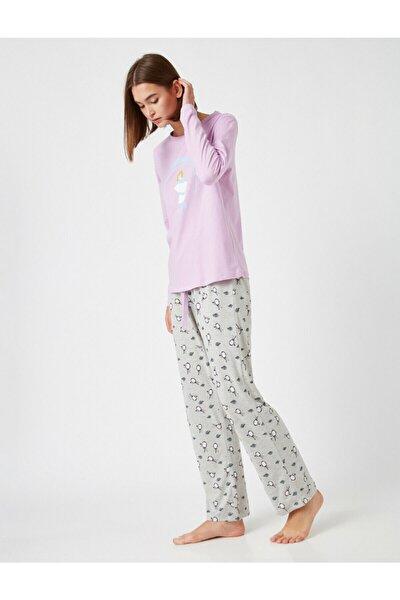 Kadın Mor Pamuklu Disney Lisanslı Baskılı Pijama Takımı