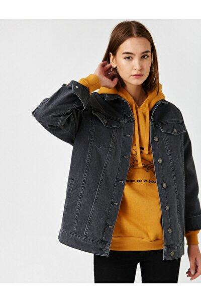 Kadın Siyah Pamuklu Kot Ceket