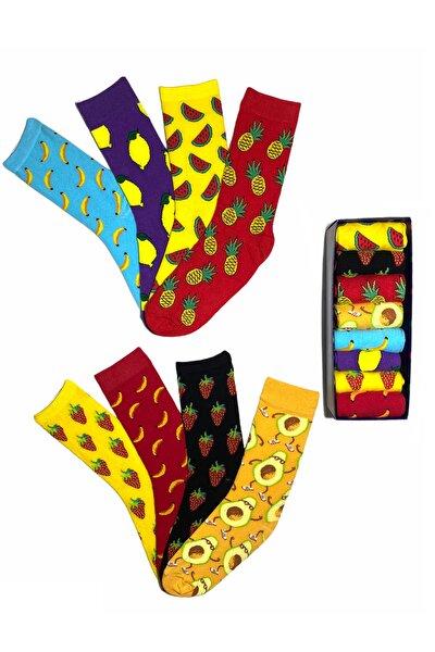 Unisex Meyveli Desenli 8'li Çorap Kutusu