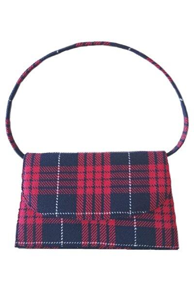 Kadın Kırmızı Sısa Yünlü Ekose Baget Çanta