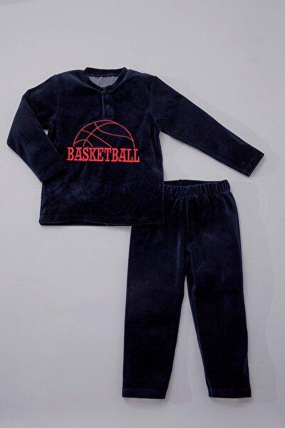 Baby Erkek Çocuk Kadife Eşofman Takımı Lacivert Basketball 4869-L