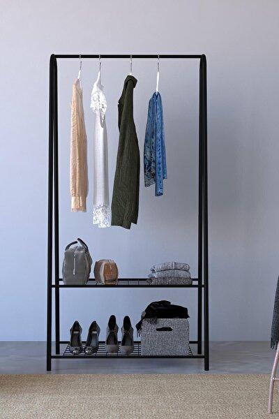 2 Raflı Metal Portmanto  Ayaklı Elbise Askısı Ve Konfeksiyon Askılık - Siyah