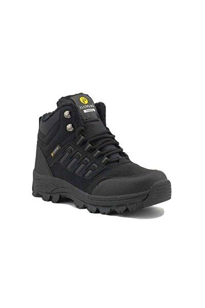Erkek Siyah Kışlık Kürklü Fermuarlı Trekking Ayakkabı Bot