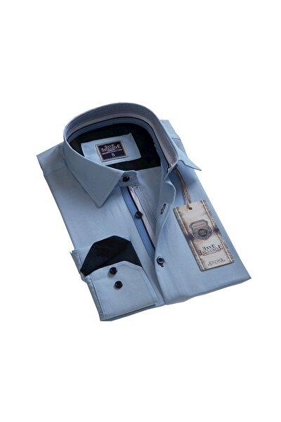 Erkek Mavi Yaka Detaylı Tailor Fit Gömlek
