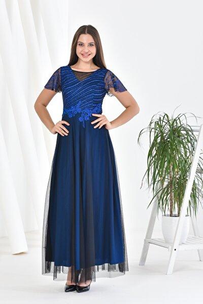 Kadın Lacivert Sim Filoklu Beli Güpürlü Düşük Kol Volanlı Uzun Abiye Elbise