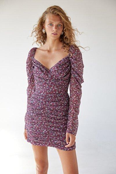 Kadın Bordo Kruvaze Yaka Desenli Elbise