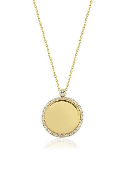 Kadın Altın Gümüş Taşlı Kişiye Özel İsimli Gümüş Kolye 925 Ayar