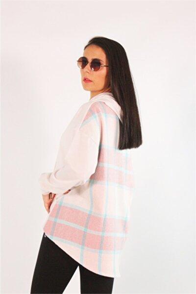 Kadın Pembe Kapüşonlu Ekose Detaylı Sweatshirt