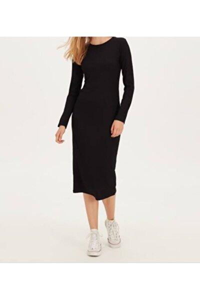 Kadın Siyah Diz Altı Kalem Elbise