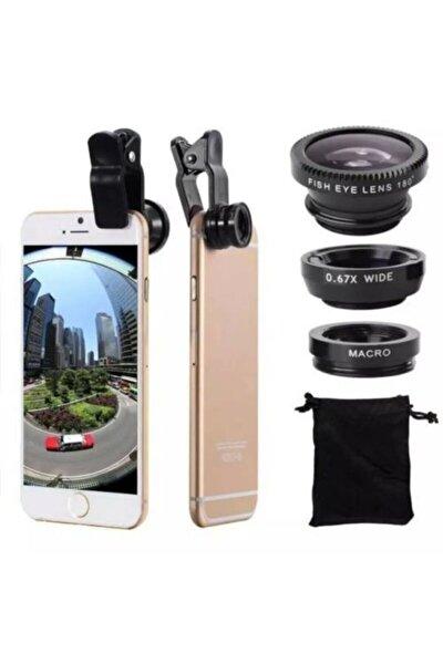 Balık Gözü Lens Fish Eye 3 Wide Geniş Açılı Makro Telefon Lensi