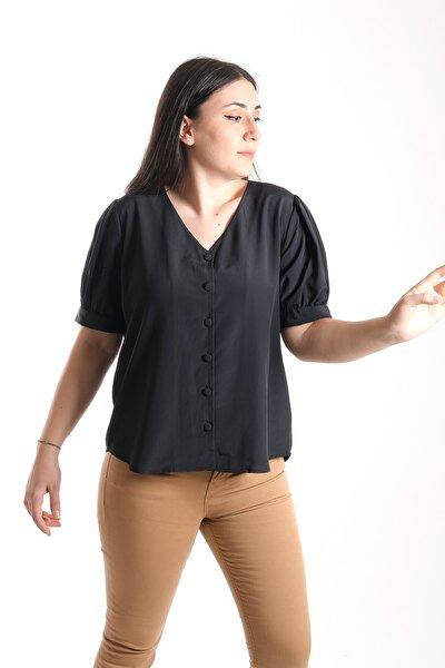 Kadın Siyah Yarım Kol Gömlek