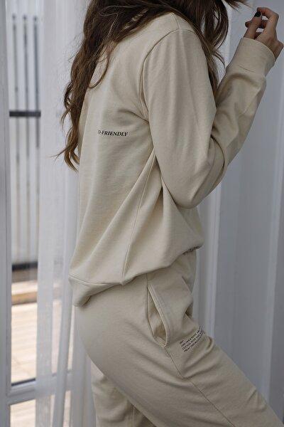 Bej Baskılı %100 Organik Pamuk Basic Örme Sweatshirt TWOAW21SW0747