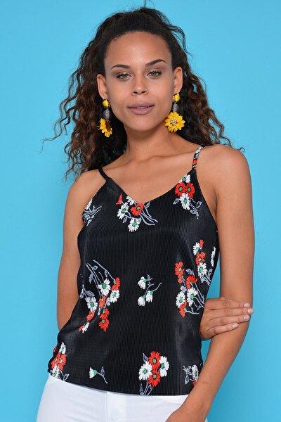 Kadın Siyah Ip Askı Fitilli Bluz