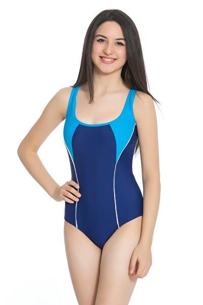Kadın  Lacivert Full Lycra Genç Yüzücü Mayo
