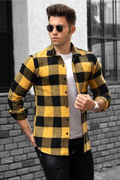 Erkek Ekoseli Sarı Gömlek 4664