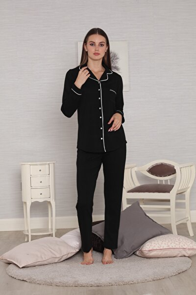 Siyah Biyeli Önden Düğmeli Ribana Örgü Penye Kışlık Kadın Pijama Takımı