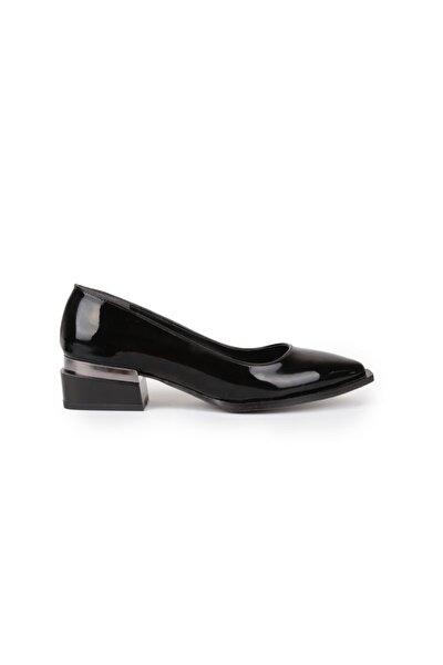 Kadın Inci Siyah Rugan Kısa Topuk Ayakkabı