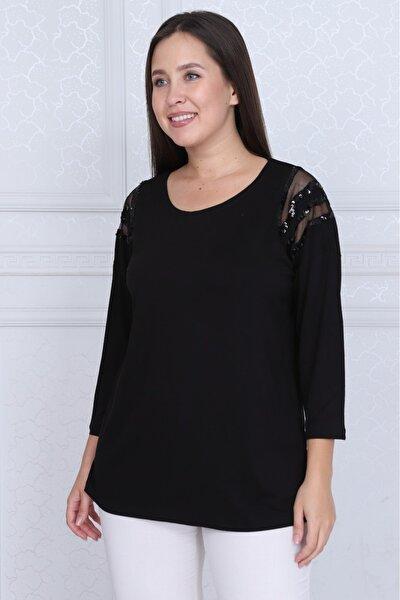 Kadın Siyah Büyük Beden Omuzları Payet Ve Tül Detay Lı Viskon Bluz