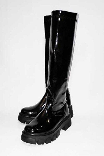 Kadın Siyah Rugan Sretch Çizme