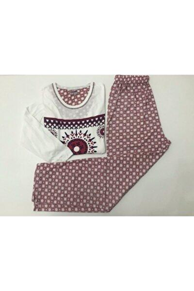 Kadın Beyaz Etnik Desenli Pijama Takımı