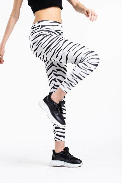 Kadın Beyaz Zebra Desen Yüksek Bel  Sporcu Tayt