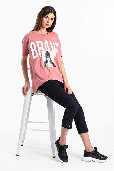 Kadın Pembe Baskılı T-shirt