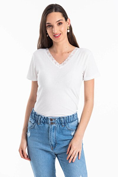 Kadın Beyaz Ön Arka V Yaka Kaşkorse T-shirt
