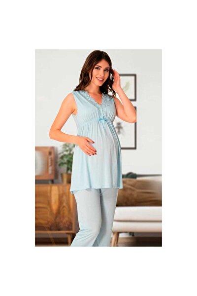 Kadın Mavi Lohusa Pijama Takım