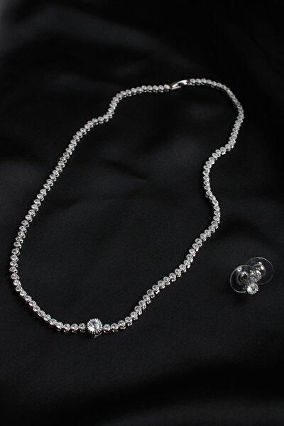 Kadın Gümüş Pırlanta Görünümlü Kolye Küpe Set