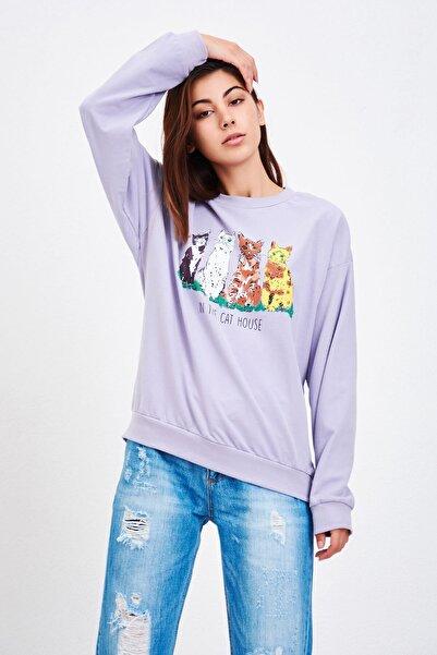 Kadın Lila Kedi Baskılı Sweatshirt