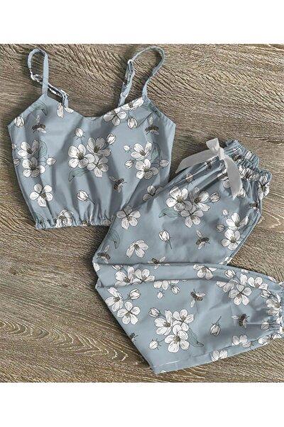 Kadın Beyaz Çiçekli Saten Trend Pijama Takımı