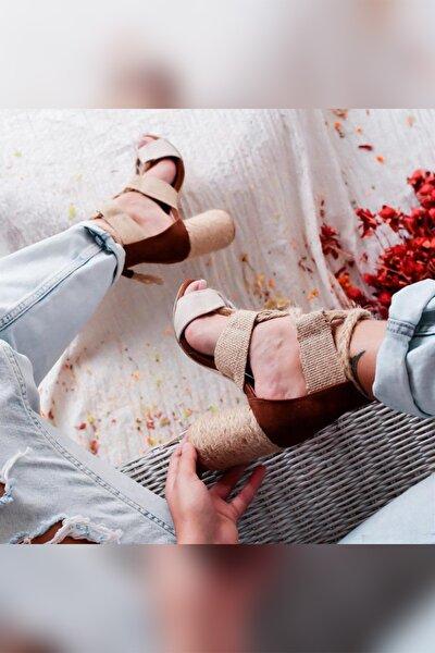 Kennedy Bej Taba Naturel Hasır Kum Tenoval Topuklu Ayakkabı